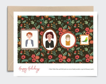 Holiday Cards with Custom Family Portrait | Personalized Christmas cards, Thank You Cards, holiday cards,