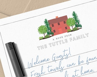 Printable Custom House Notecard Set | Personalized Stationery, Thank You Cards, Welcome cards, Correspondence Cards, Monogram
