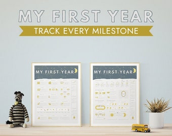 Baby's First Year Fill-Out Printable Wall Art (Moon + Stars) Nursery Art, First birthday print, Milestones Chart, Interactive, Baby Book