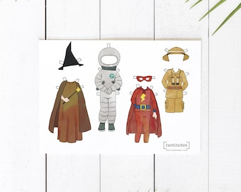 Printable Paper Doll Play Outfits, safari zookeeper, astronaut, witch or wizard and superhero
