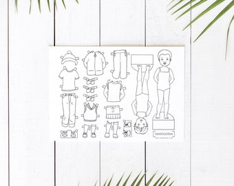 Printable Color Your Own Paper Dolls and Outfits, multiple sheets and templates for you to design and make your own