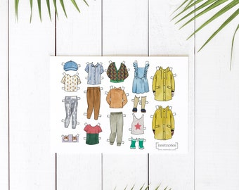 Printable Paper Doll Additional Outfits, Bowie silver leggings, Rainjacket, Rainboots, Pineapple tee, Star tank and more