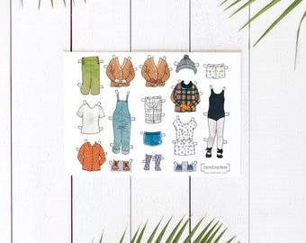 Printable Paper Doll Additional Outfits, sailor pants, overalls, plaid jacket, ballet, romper, shorts, cardigan and more