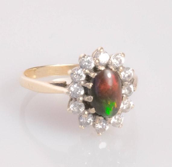 Vintage Black Opal Sapphire Ring size 6.75