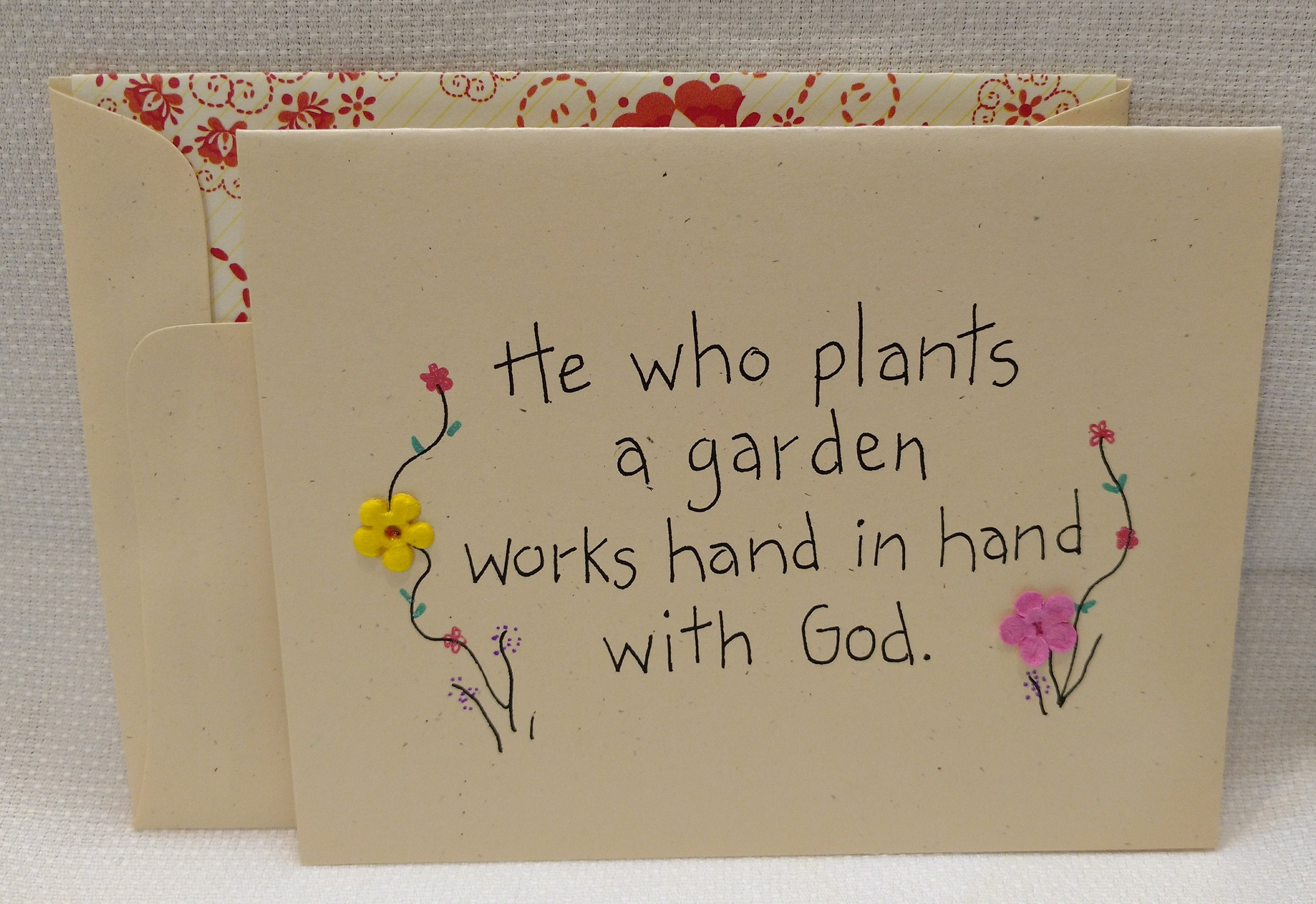 Garden Card He Who Plants A Garden Works Hand In Hand With Etsy