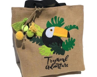 Womens Bag Shoulder Tote handbag Zipper Purse Top-handle Zip Bags Parrot Toucans Hummingbird And Tropical Palm Leaves