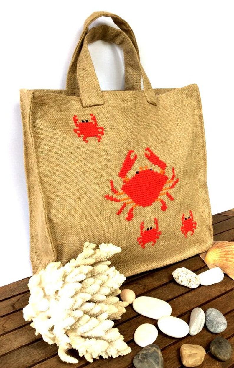 Summer jute tote bag handmade handmade tote bag Casual Tote Bag cross stitched red crabs beach tote bag