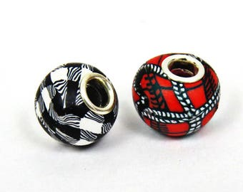 Plaid beads, Black plaid beads, red plaid beads, charm beads, Grommet style bead, Compatible with many bracelets and necklace systems