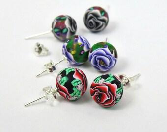 Stud earrings/ Rose stud earrings/ 925 sterling silver stud/ white rose/ purple rose/ red rose stud earrings/ salmon rose/ Rose stud earring