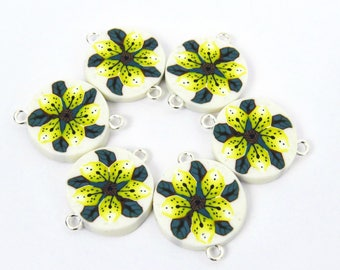 Tiger lily beads/ tiger lily pendant/ Yellow flower pendant/ yellow tiger lily/ Extra large beads/ primrose yellow flower beads/ clay beads