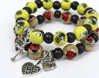 Limited Edition/ Bumble bee bracelet/ lady bug bracelet/ Insect bracelet/  keyring bracelet/ Lanyard  bracelet/ Stretchable bracelet