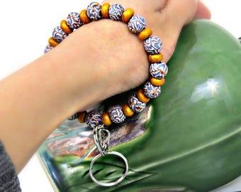 Basket weave bracelet, Key-chain bracelet, bracelet key ring, adjust bracelet, bracelet key chain, Gray bracelet, handmade key ring bracelet
