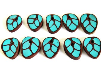 Turquoise leaf beads/ Leaf beads/ handmade beads/ flat beads/ bead for earrings/ blue beads/ turquoise beads/ blue leaf beads/ unique beads