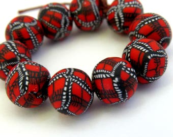 DIY Crafts Round beads red beads Red hue Poinsettia Handmade beads 10 pcs