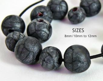 Dark gray beads/ Handmade beads/ Dark gray round beads/ 8 mm dark gray beads/ gray beads/ 10 mm round beads/ 12 round beads/ round gray bead