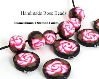Hot pink and white rose beads/ Pink beads/ pink and white beads/ rose beads/ handmade beads/ polymer clay beads/ 8mm beads/ 10mm beads