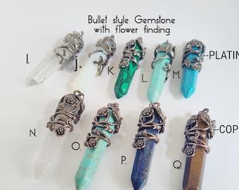 Bullet style gemstone pendant// Copper color bullet pendant with flower findings/ Tiger eye bullet pendant stone/ Crystal bullet pendant