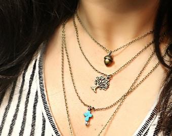 14'' to 38'' Bronze layering necklace/ Bronze charm necklace/ Tree of life necklace/ Sun necklace/ moon necklace/ Arrow necklace/ Bronze