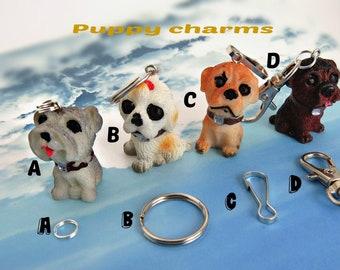 Adorable puppies charm/ Puppy purse charm/ Dog purse charm/ dog lover gift/  Resin puppies charm pendant/ Animal charm pendant.
