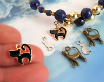 100/50/25 pieces/ Cat charms for jewelry making supply/ Cat lovers gift/ Cat Enamel charm/ Bronze cat charm/ Craft supplies/ Stainless cat