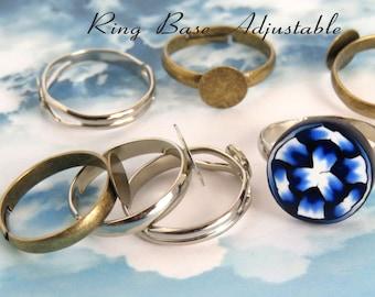 Ring Finding/ DIY ring/ Bronze adjustable ring base/ Silver adjustable ring base/ Platinum ring base/ Brass adjustable ring setting/ Rings