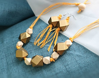 Gold and mustard Jewelry set/  Eco-friendly wooden Jewelry set/ Necklace and earrings set/ Chic necklace set/ Cord necklace