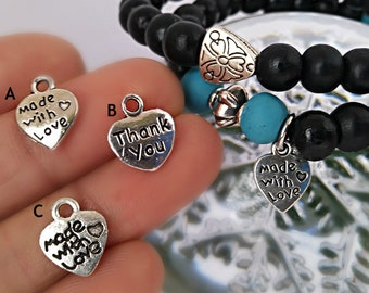 7ab42a34d 10/25/50 or 100 pieces Heart charms/ Made with love charm/ charm for  bracelet/ Charms beads/ Antique silver/ Tibetan style heart charm