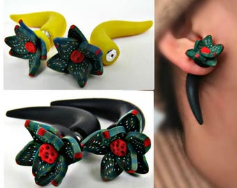 Succulent fake ear plugs, Fakers, Sterling silver earrings, succulent jewelry, Fake are gauges, fake earring plugs, flower fake ear plugs