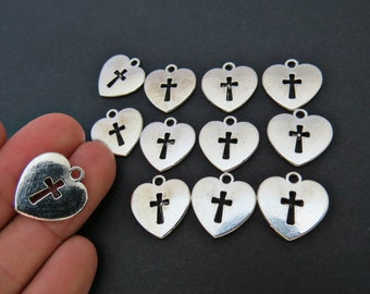 8 Heart and cross charms antique silver tone C113