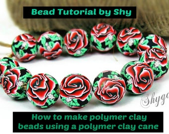 PDF Tutorial Rose polymer clay Beads/ How to make beads Tutorial/ Rose bead tutorial/ polymer clay bead tutorial/ how to make clay bead.
