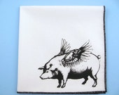 Hankie- FLYING PIG handkerchief shown on super soft white cotton funny ladies hanky-or choose from any solid color or plaids shown in pics