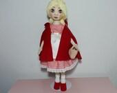 Red Riding Hood Girl, Handmade interior Doll, Fashion Doll, Rag Doll, Cloth Doll, Textile Doll, Fabric Doll