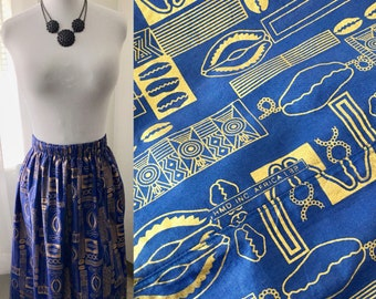 African Gold *Plus Size/3X* Cowrie Wax Print Elastic Waist Maxi Skirt with Pockets