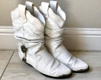 Vintage 1980s White Leather Cowgirl Cowboy Boho Hippie Grunge Hipster Mod Boots Sz 7.5 (US)