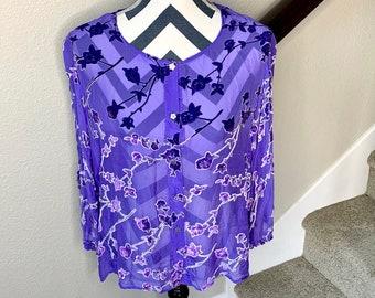 dad66795960 Vintage 1990s Gorgeous Asian Floral Velvet Silk Shimmer Iridescent Detail  Blouse Sz L