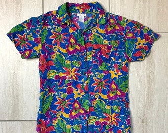f558f950 Vintage 1990s Blue Floral Psychedelic Trippy Flower Power Grunge Hawaiian  Pop Art Blouse Sz S