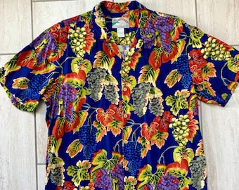 3bb08986 Vintage 1990s Hawaiian Island Bahamas Tropical Floral Trippy Surfer Seapunk  Psychedelic Nature Shirt Sz L