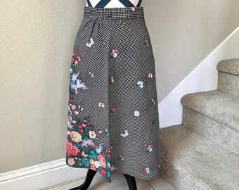 e935c2e7fc6e75 Vintage 1990s Hippie Psychedelic Black White Checkered Floral Retro Pin Up  Girl Side Tie Around Skirt Sz S