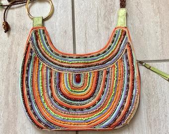 2cf6abde96c0 Vintage 1990s Rainbow Beaded Leather Psychedelic Boho Trippy Retro Glamour Gypsy  Handbag