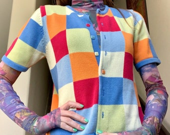 c17c01ceb Vintage 1990s Rainbow Neon Pop Art Checkerboard Retro Psychedelic Trippy  Hipster Sweater Blouse Sz S