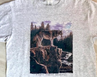 1ad4ba063 Vintage 1990s North Shore Wolf Mountain Print Nature Americana Tourism  Outdoor Print Shirt Sz L