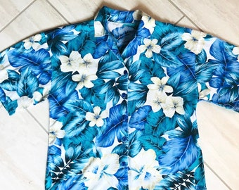 72d4e325 Vintage 1990s Blue White Floral Trippy Hawaiian Retro Funky Psychedelic  Tropical Bahamas Island Shirt Sz S