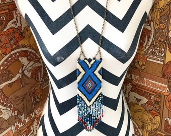 Vintage 1990s Native American Style Tribal Beadwork Woven Boho Hippie Psychedelic Necklace