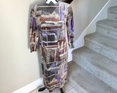 Vintage 1990s Velvet Geometric Intersecting Lines Trippy Psychedelic Minimalism Boxes Print Dress Sz M