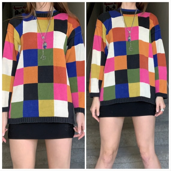 Vintage 1990s Rainbow Color Pop Art Checkered Boho