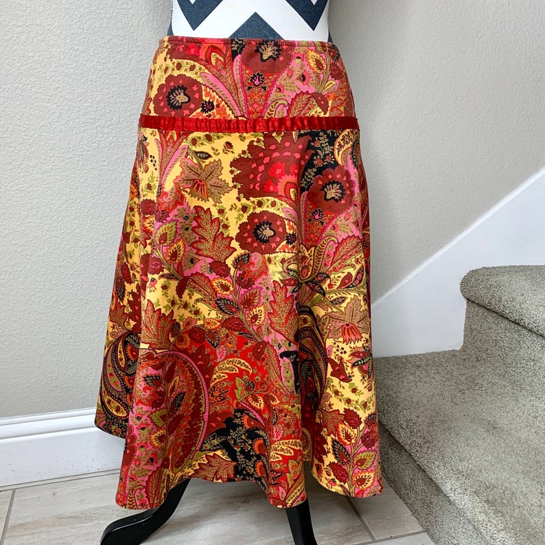 Vintage 1990s Red Yellow Psychedelic Paisley Boho Trippy Gypsy Floral Kaleidoscope Print Skirt Sz M