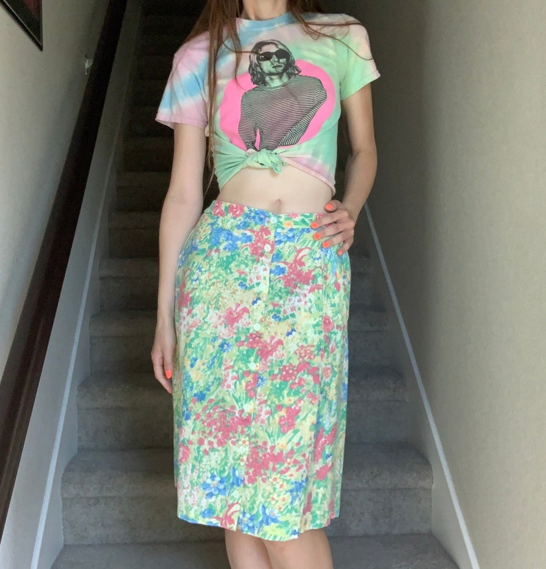 Vintage 1990s Pastel Floral Flower Power Acid Trippy Psychedelic Shabby Cottage Chic Skirt Sz M