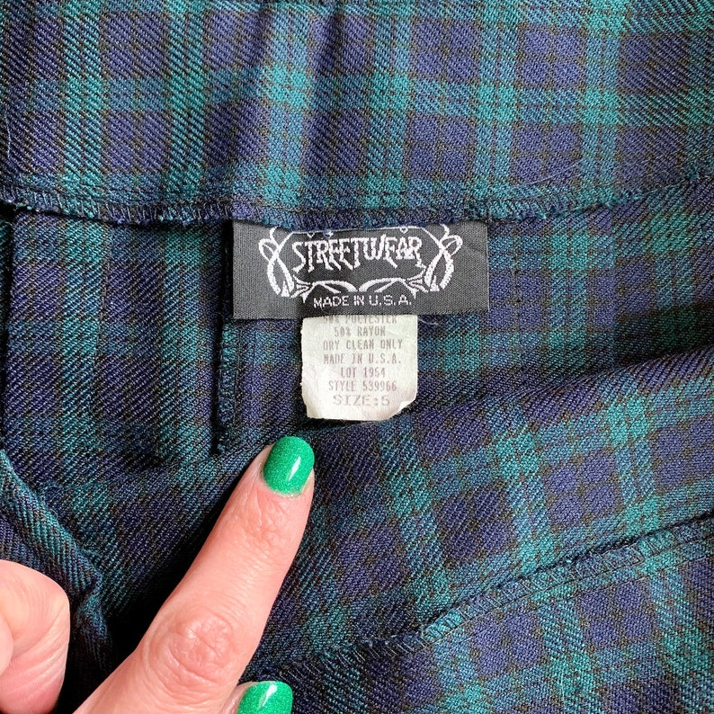 Vintage 1990s Blue Green Plaid Boxes Schoolgirl Kawaii Grunge Punk Uniform Mini Skirt Sz 5 US