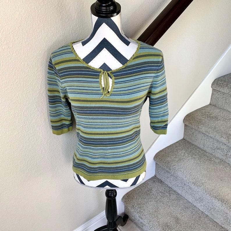 Vintage 1990s Lime Green Blue Horizontal Stripe Grunge Hippie Hipster Retro Sweater Sz M