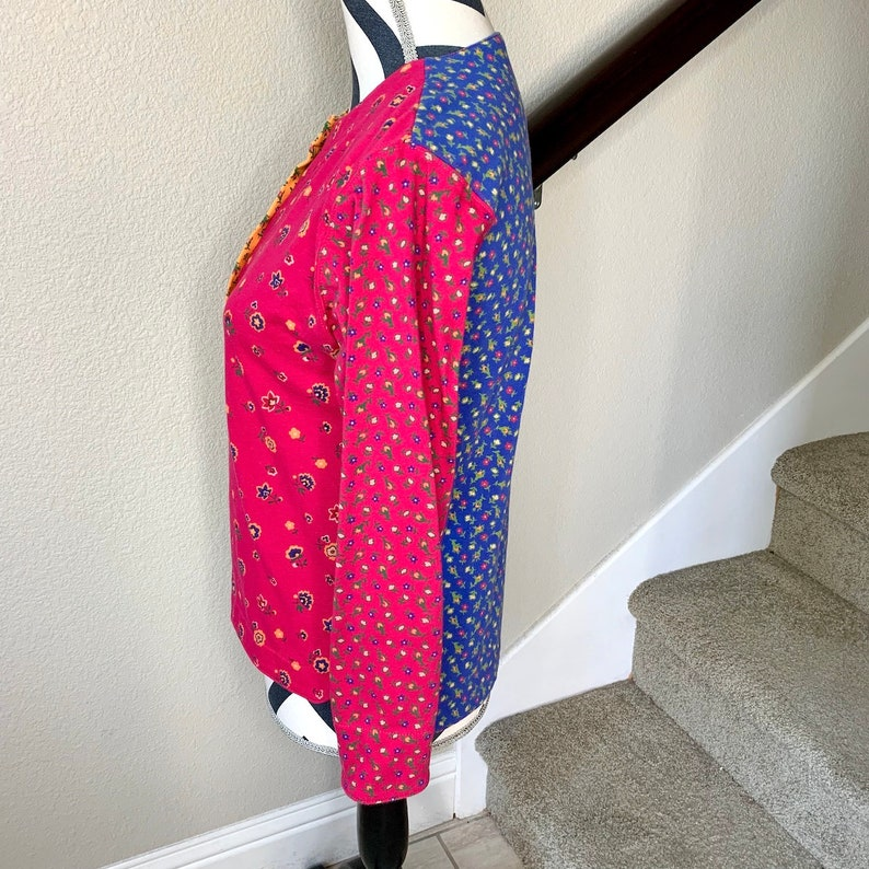 Vintage 1990s Colorblock Patchwork Rainbow Psychedelic Floral Trippy Button Down Shirt Sz S